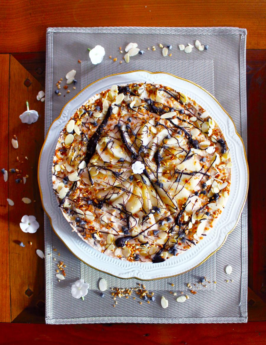 Cashewcake aux poires et pépites de chocolat