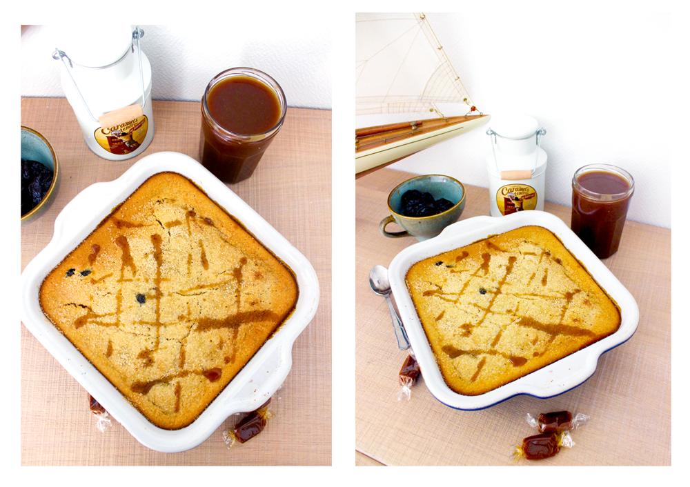 Gâteau aux pruneaux et son coulis de caramel