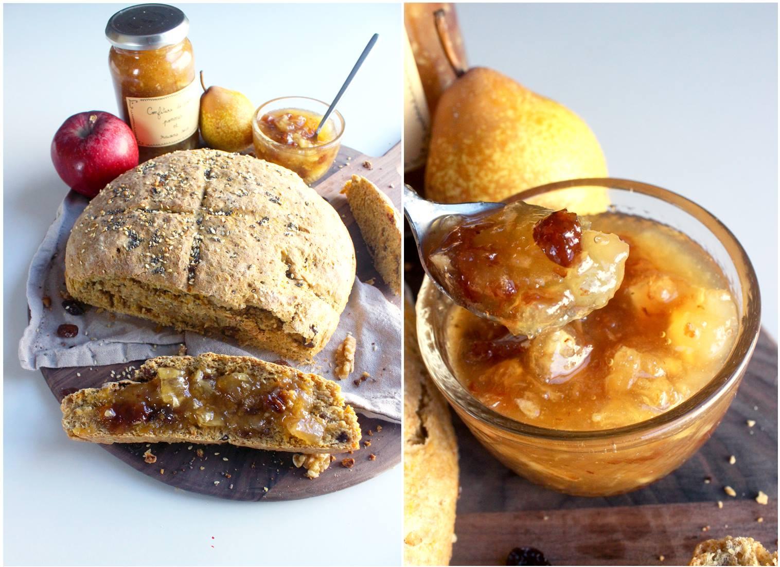 Pain à la carotte, noix et petites graines et sa confiture de poires, pommes et raisins secs