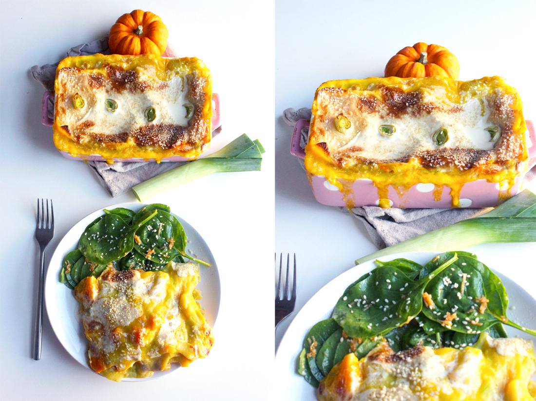 Lasagnes aux poireaux et potimarron