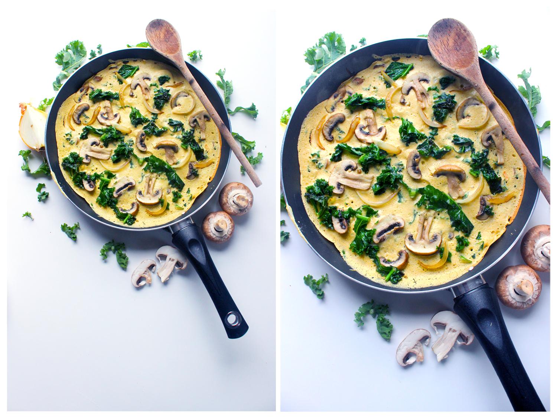 Omelette vegan au choux kale et aux champignons