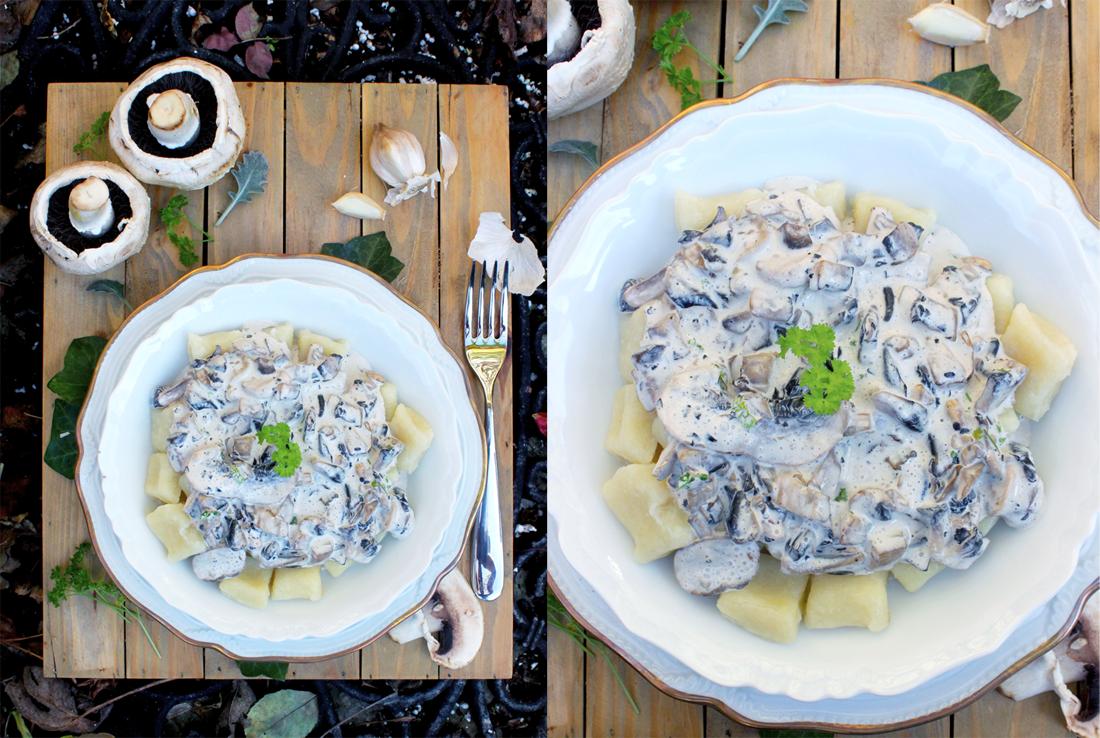 Gnocchis de panais et sauce persillée à l'ail et champignons
