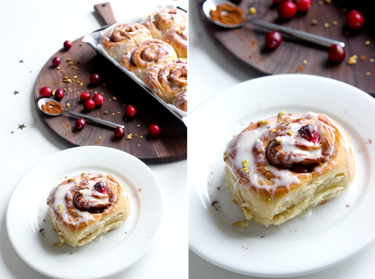 Cinnamon rolls aux cranberries