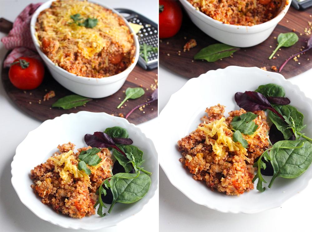 Quinoa casserole gratiné à la tomate et petits légumes