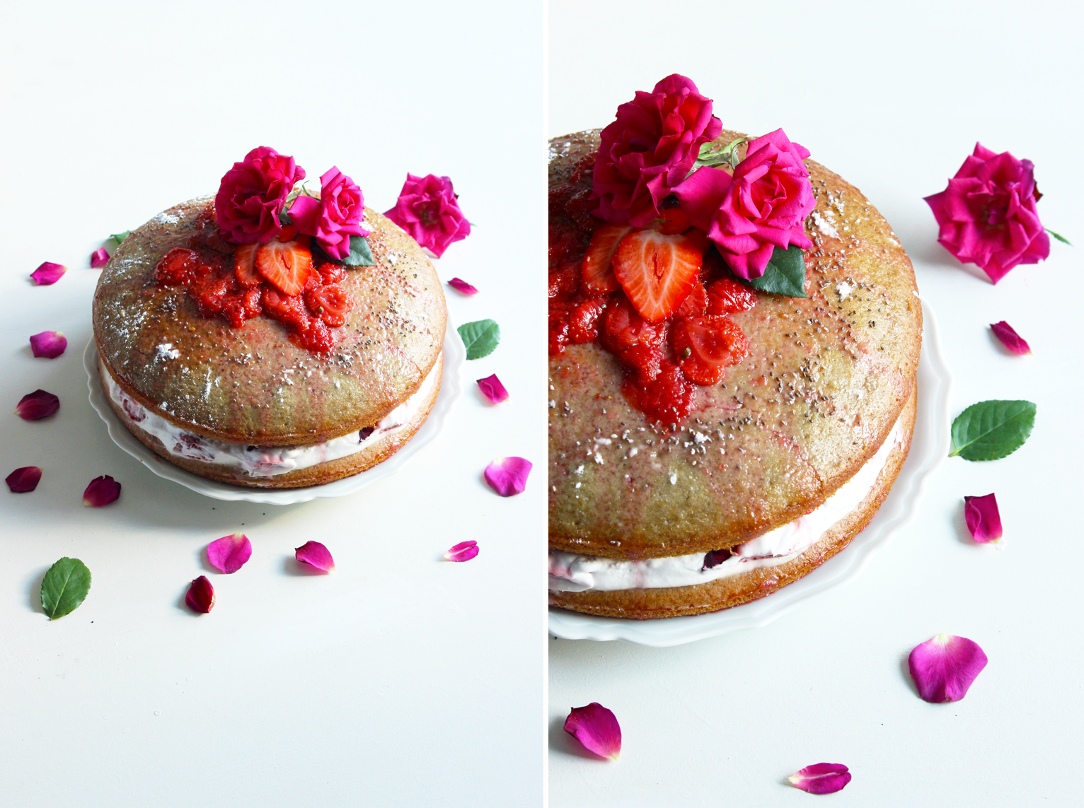 Gâteau sandwich aux fraises et à l'eau de rose