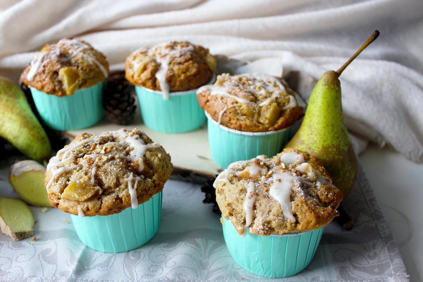 Muffins aux poires et au gingembre (vegan)