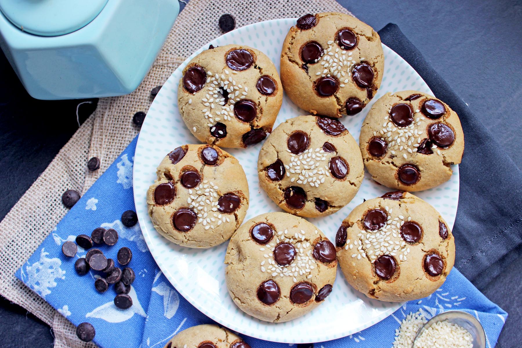 Cookies aux pépites de chocolat, graines de sésame et tahini