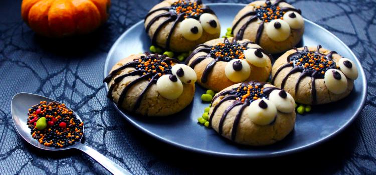 Cookies araignées au tahini et chocolat