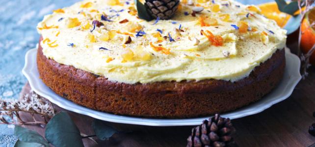 Carrot cake aux cranberries, pépites de chocolat et oranges confites (vegan)