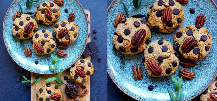 Cookies aux amandes, noix de pécan et pépites de chocolat (vegan/sans gluten)