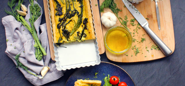 Quiche au brocolis-rave et à l'aneth (vegan)