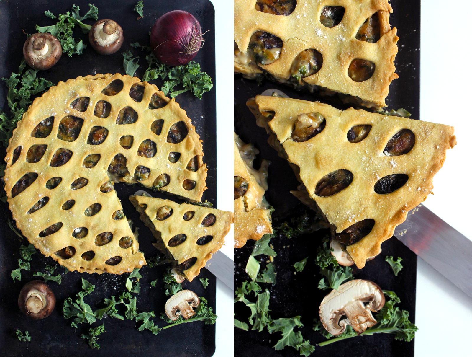 Tourte de Kale, champignon et Butternut à la béchamel (Vegan)