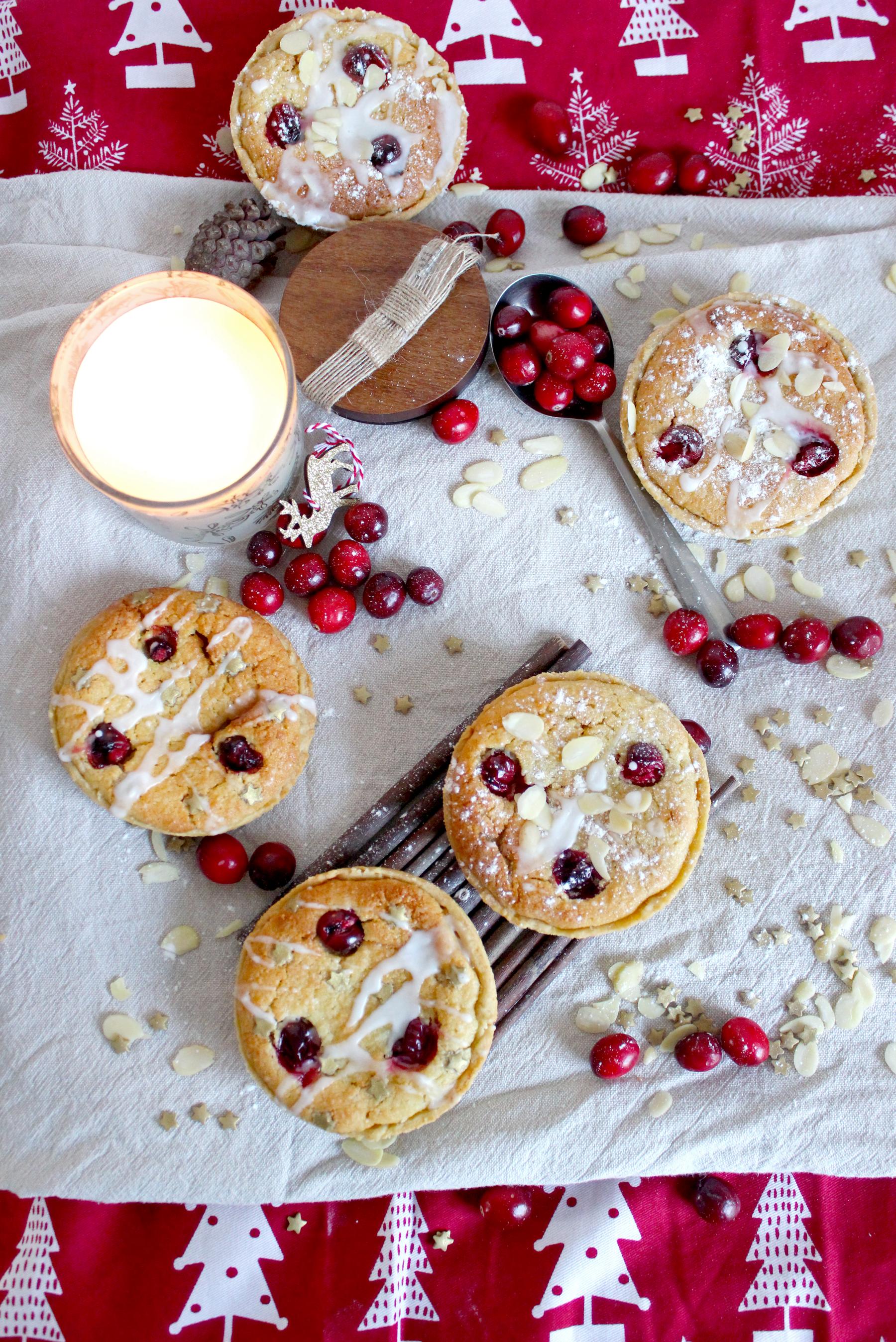 Tartelettes aux amandes et aux cranberries