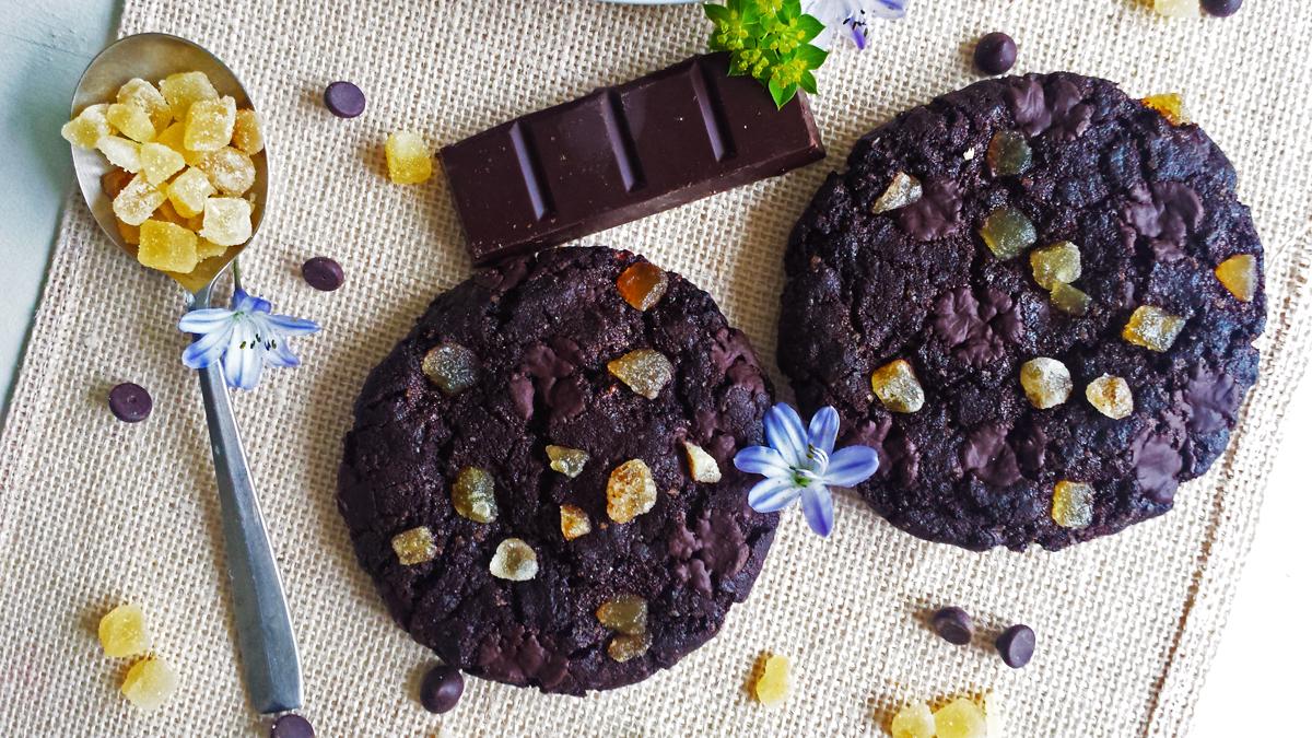 Cookies vegans tout chocolat au gingembre