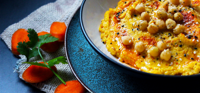 Houmous aux graines de sésames et carottes pour l'apéro